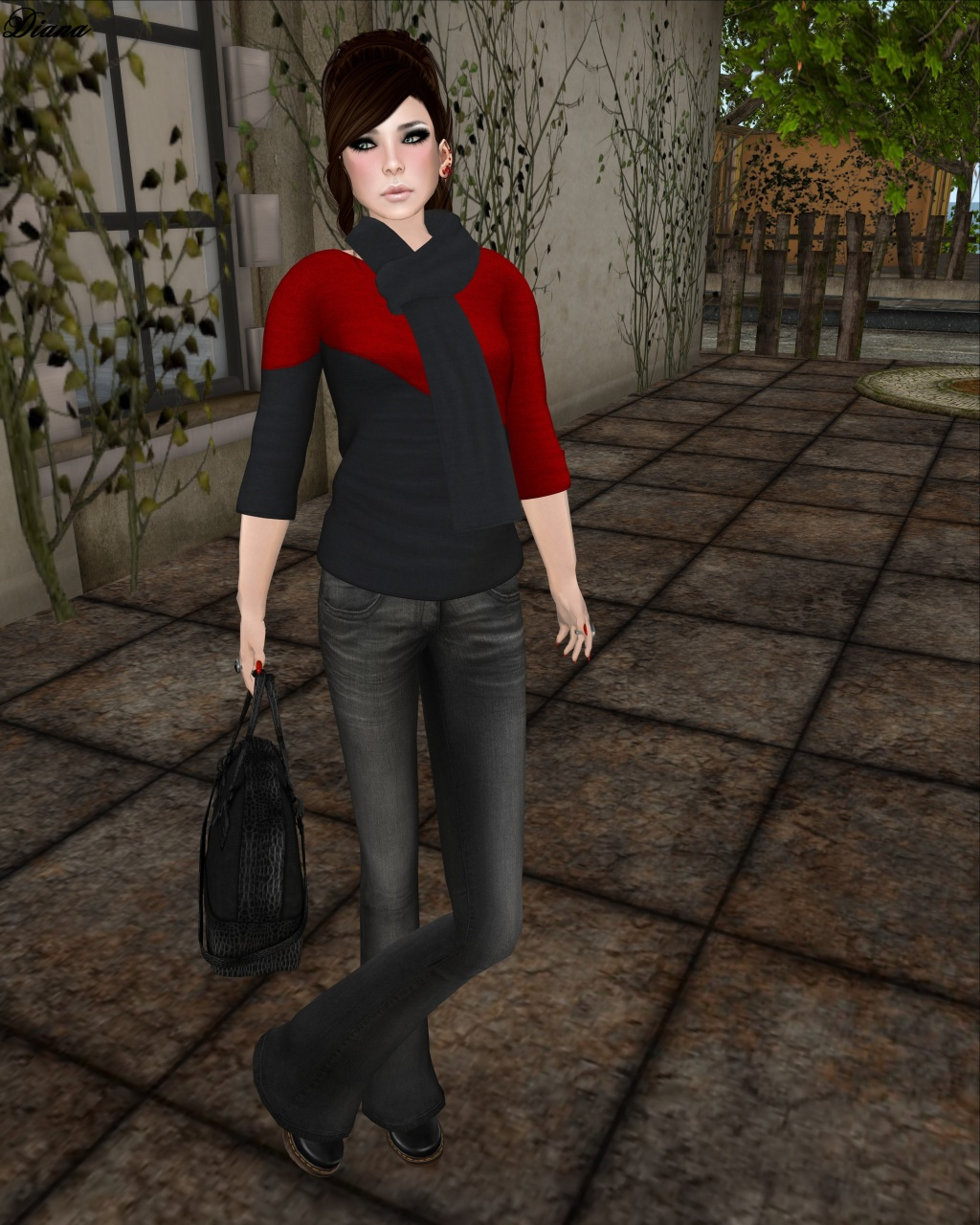 DCNY - Mesh D-Line Sweater & Scarves Lipstick-1