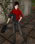 DCNY - Mesh D-Line Sweater & Scarves Lipstick-2