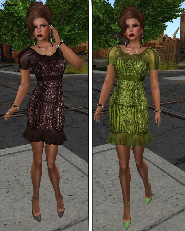 Baiastice - Juliet Dress brown and green