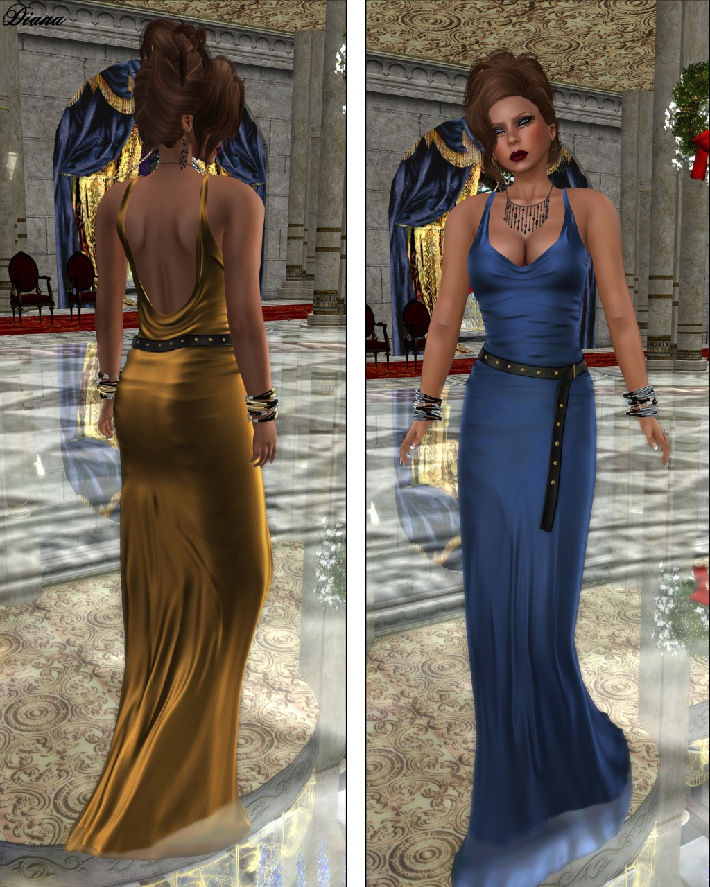 Baiastice - Qiobe Dress golden and azure