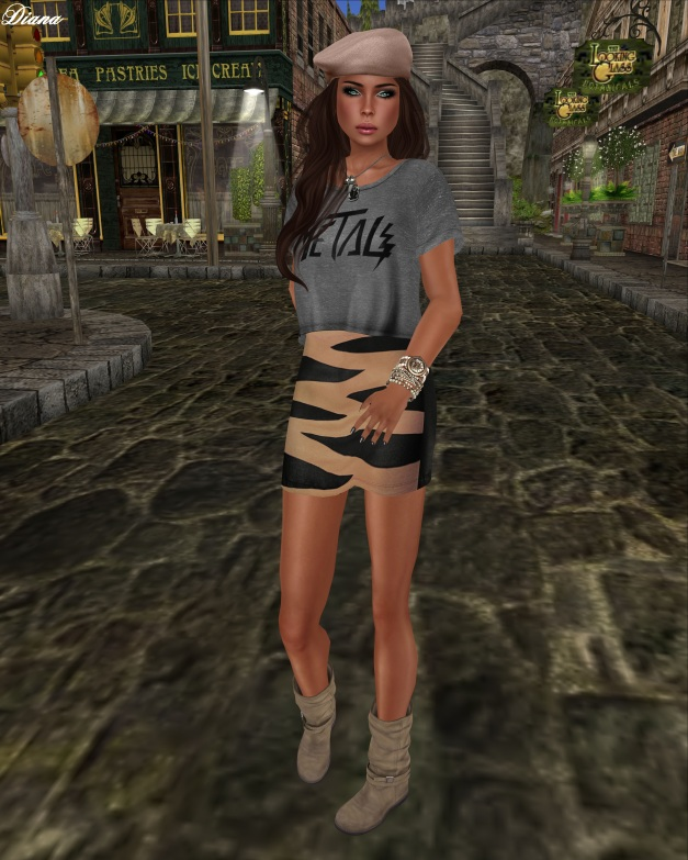 Emery - Mesh Top Metal Grey and Mesh Skirt Allende Beige