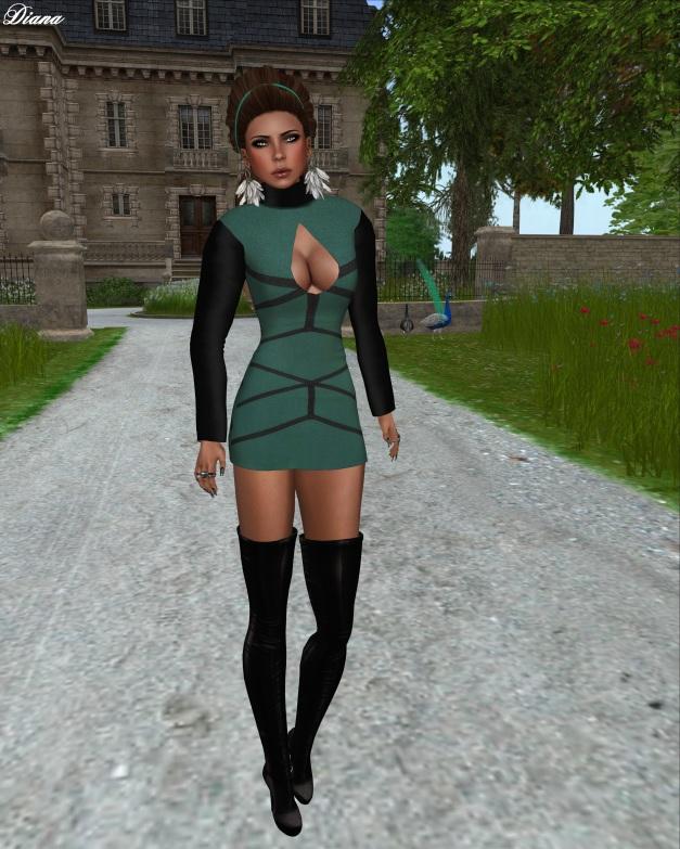 Fashion Fears - Mesh Mini Dress Green-1