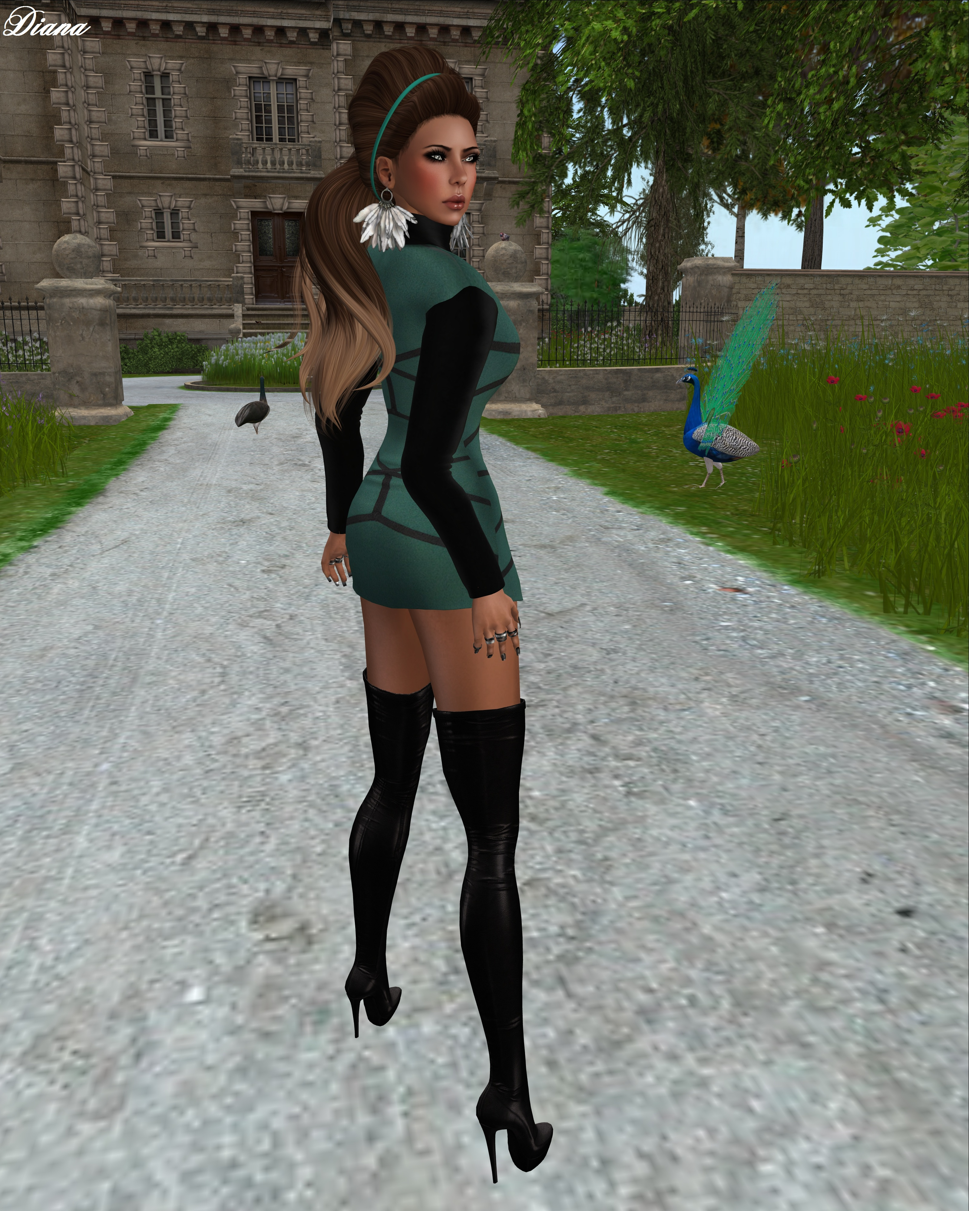 Mesh Mini Dress Green-2