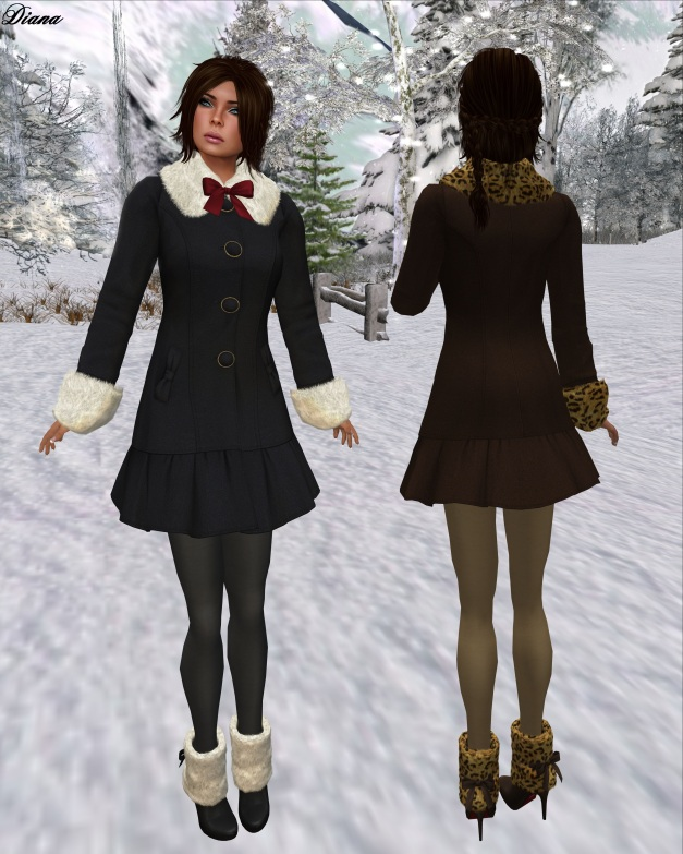 G Field - Mesh Winter Coat Natalie black and brown