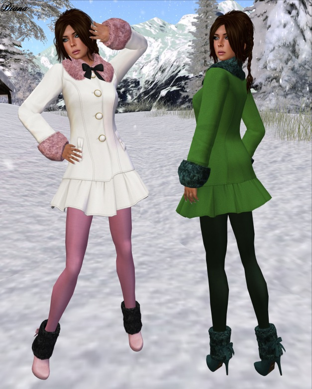 G Field - Mesh Winter Coat Natalie ivory and lime