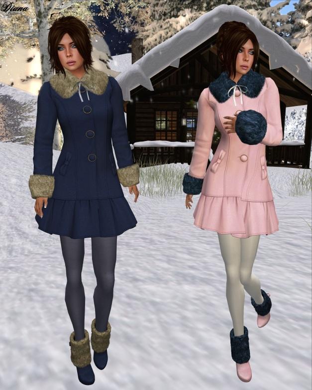 G Field - Mesh Winter Coat Natalie navy and pink