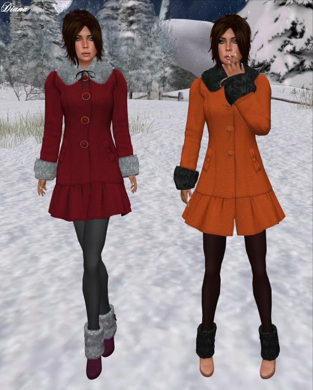 G Field - Mesh Winter Coat Natalie red and tangerine