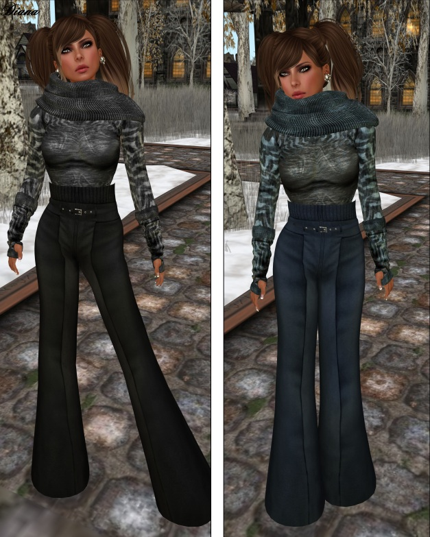GizzA - High Waist Woolen Pants and Turtle Neck Sweater black and blue