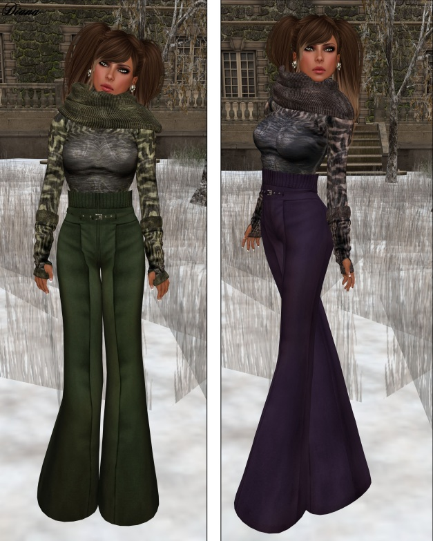 GizzA - High Waist Woolen Pants and Turtle Neck Sweater green and plum