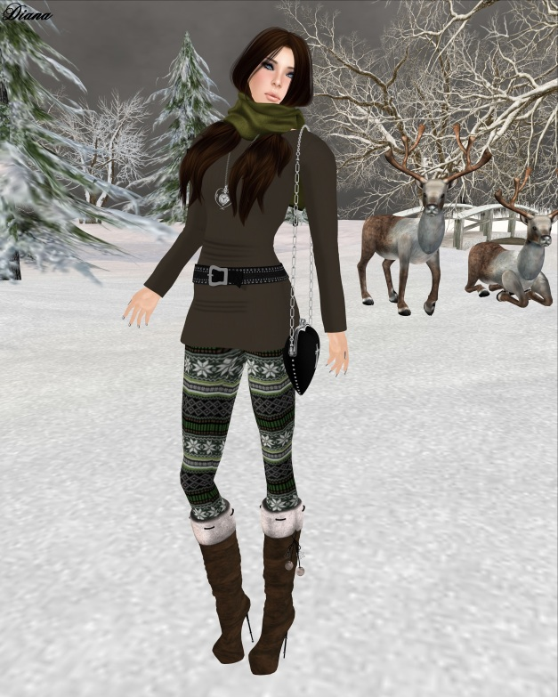 ILAYA-Basic Wool Mesh Dress brown and Izzie's - Nordic Leggings green