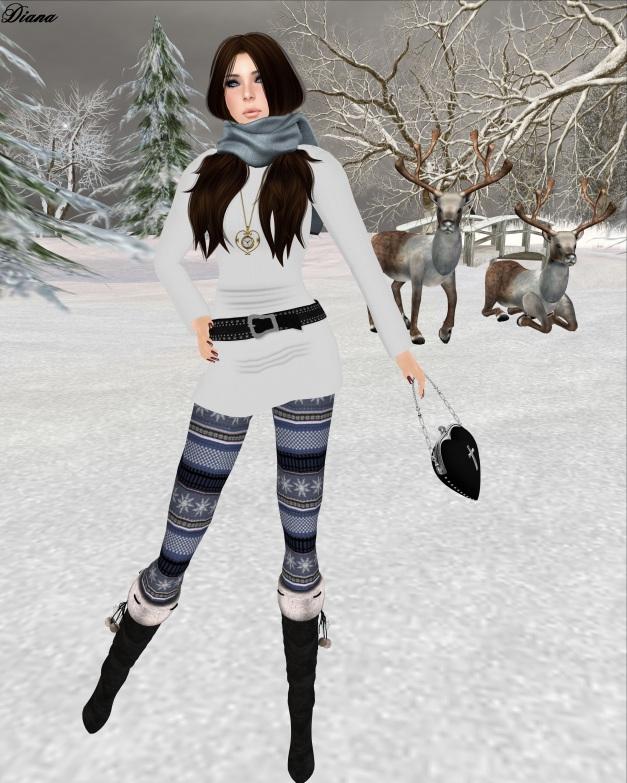 ILAYA-Basic Wool Mesh Dress light and Izzie's - Nordic Leggings Style 2 blue