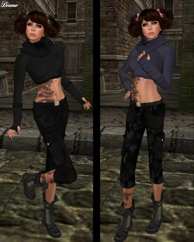 Ilaya - Wool Sweater with Mesh Scarf and Glover dark,lilica and Miel - Cargo Pants