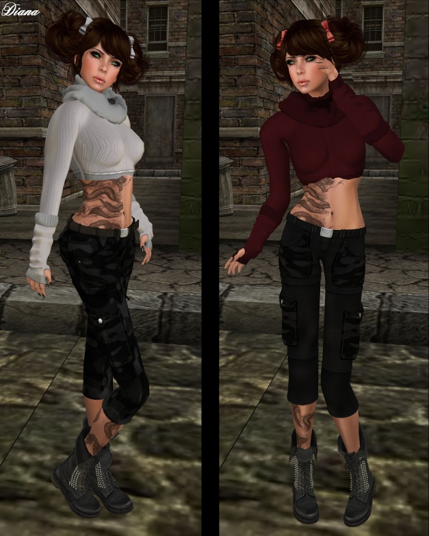 Ilaya - Wool Sweater with Mesh Scarf and Glover perl,rouge and Miel - Cargo Pants