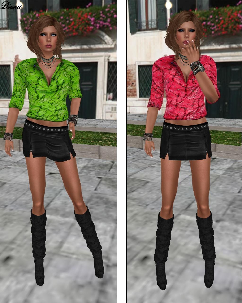 Immerschoen-BodyCult Mesh Shirts Helen green and pink