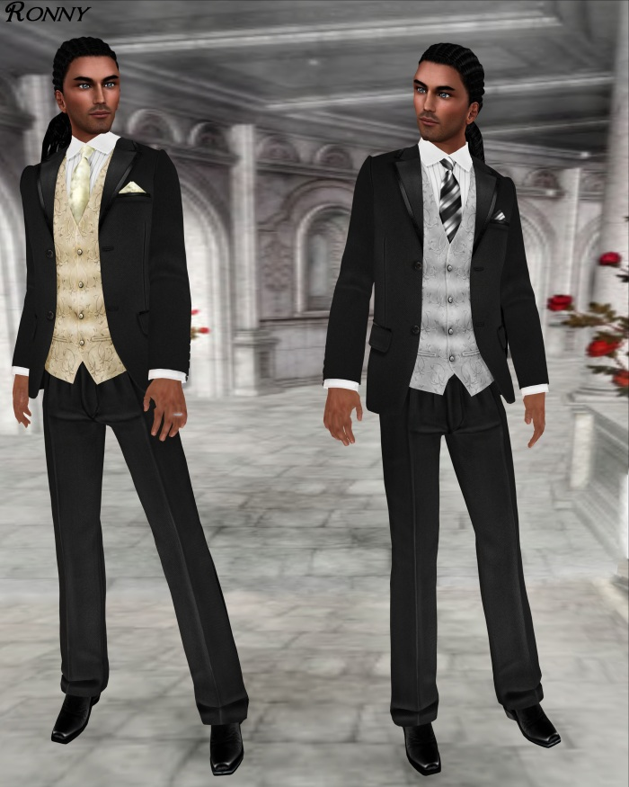 L&B Modern Black Open Mesh 2013 Tuxedo Set Cream and Slate