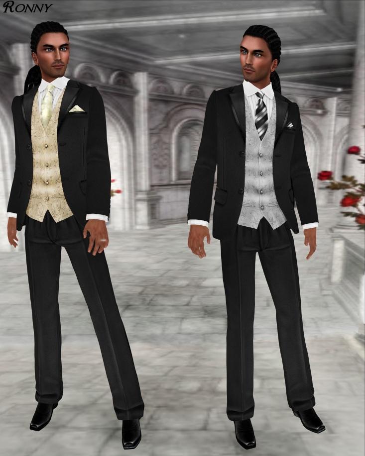 L&B Modern Black Open Mesh 2013 Tuxedo Set Cream and Slate