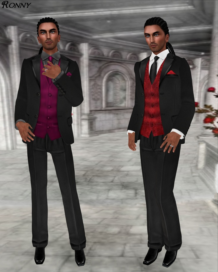 L&B Modern Black Open Mesh 2013 Tuxedo Set Hermitage and Claret