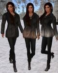 League - Faux Fur Pea Coat black