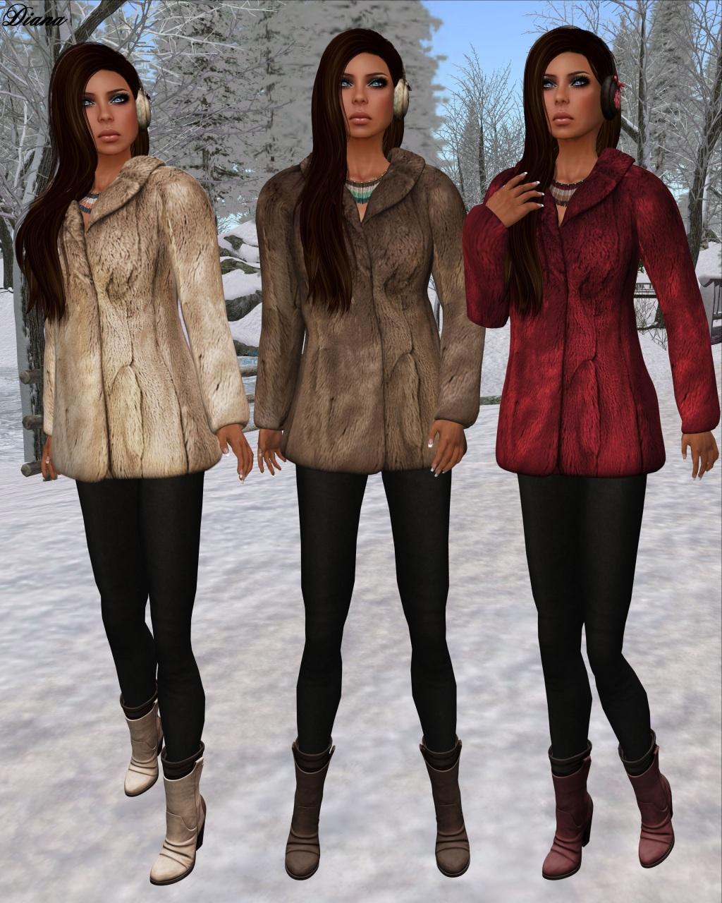 League - Faux Fur Pea Coat blonde,brown,burgundy
