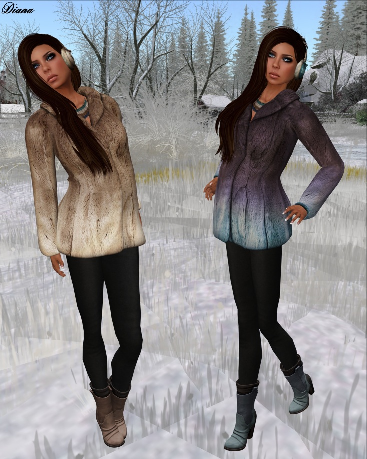 League - Faux Fur Pea Coat caramel and eggplant