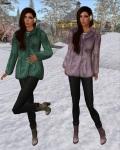 League - Faux Fur Pea Coat emerald and lavender
