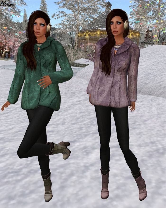 League - Faux Fur Pea Coat emerald and lavender