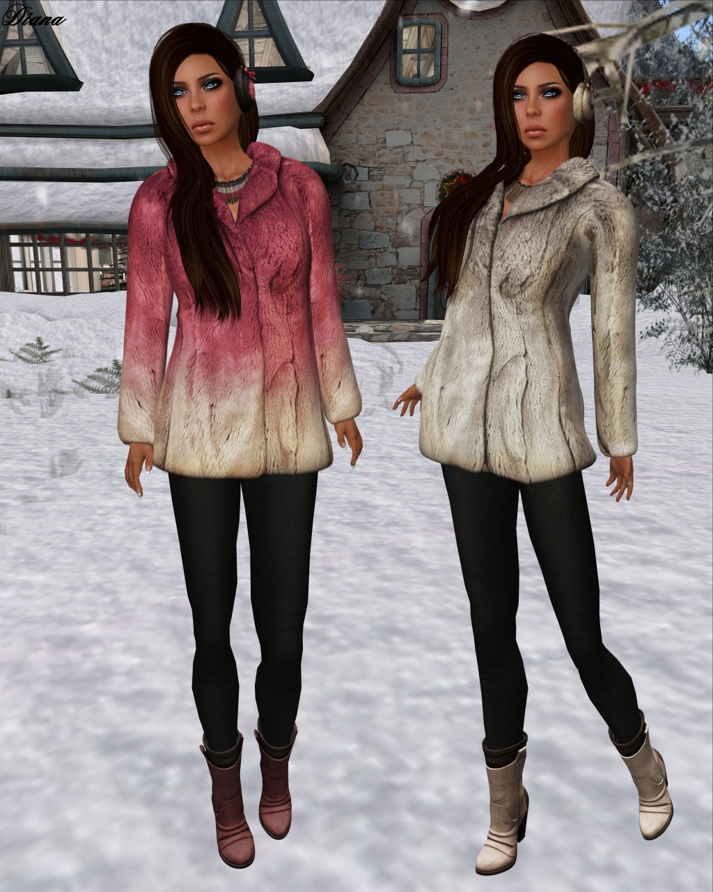 League - Faux Fur Pea Coat pink and silver