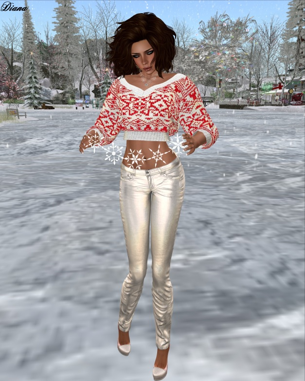 Redgrave-Hana Sweater Claus white and Jeans LQM metallic snow