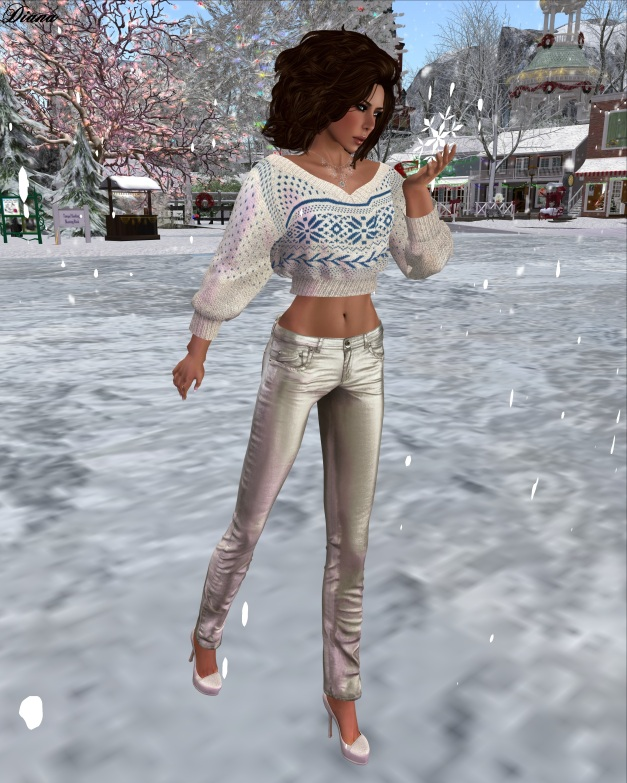 Redgrave-Hana Sweater Noel creme and Jeans LQM metallic silver