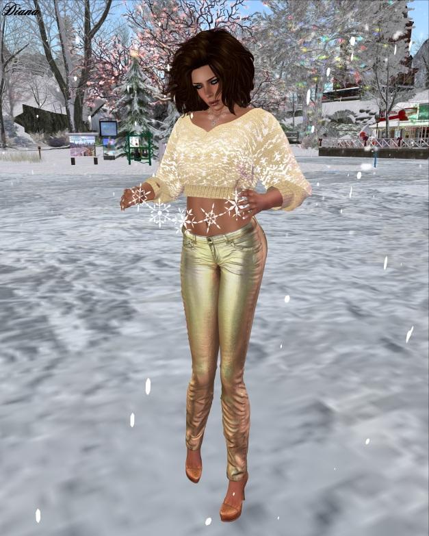 Redgrave-Hana Sweater Yule gold and Jeans LQM metallic bronze