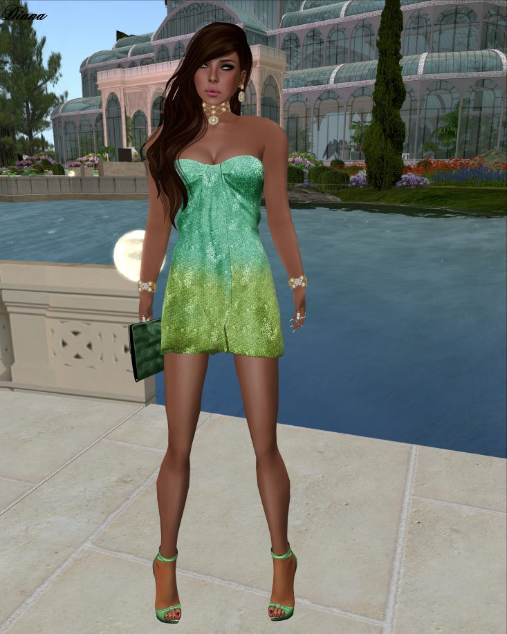 Ricielli - Mesh Glamurous Minidress Gradient Mermaid