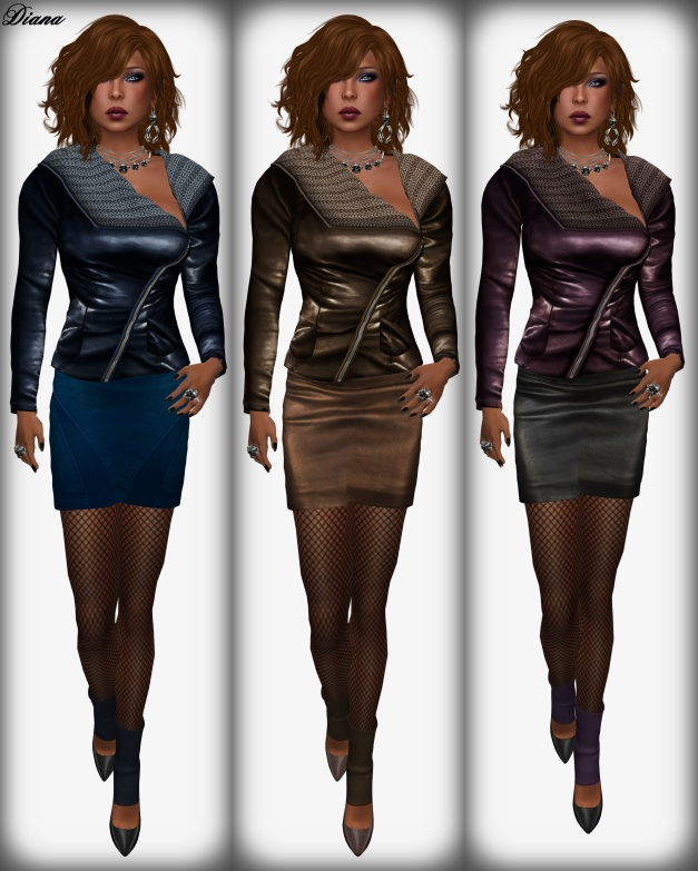 Sassy! - London jacket knit collar blue,brown,grape