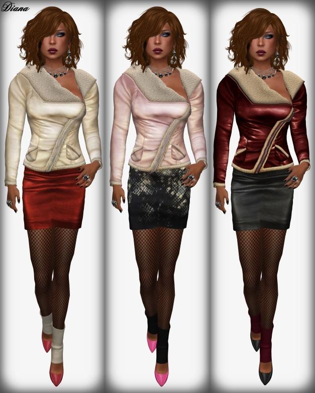 Sassy! - London jacket shearling collar ivory,pink,red