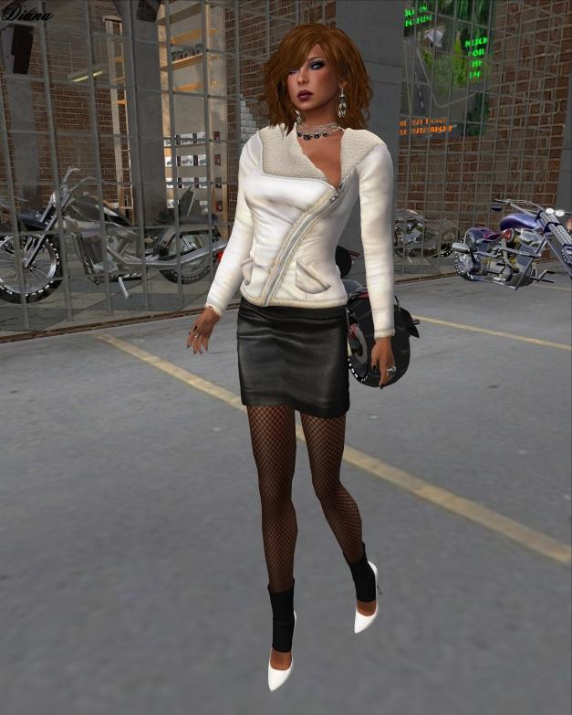 Sassy! - London jacket shearling collar white