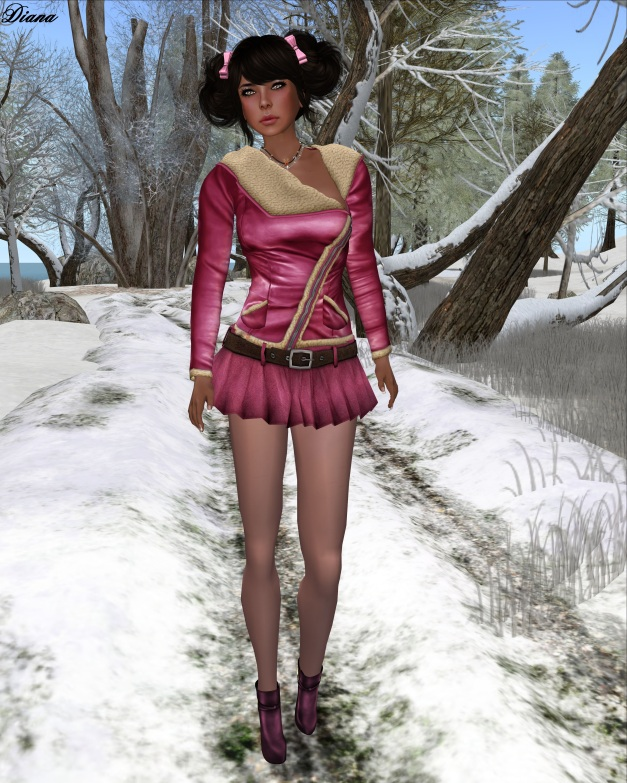Sassy! - London jacket shearling, Flippy skirt - Sassy pink