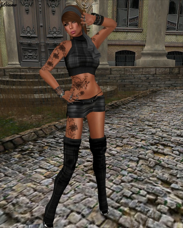 Xplosion - Tingly Mini Skirt black and Jumper Bibi AlpacaBlack
