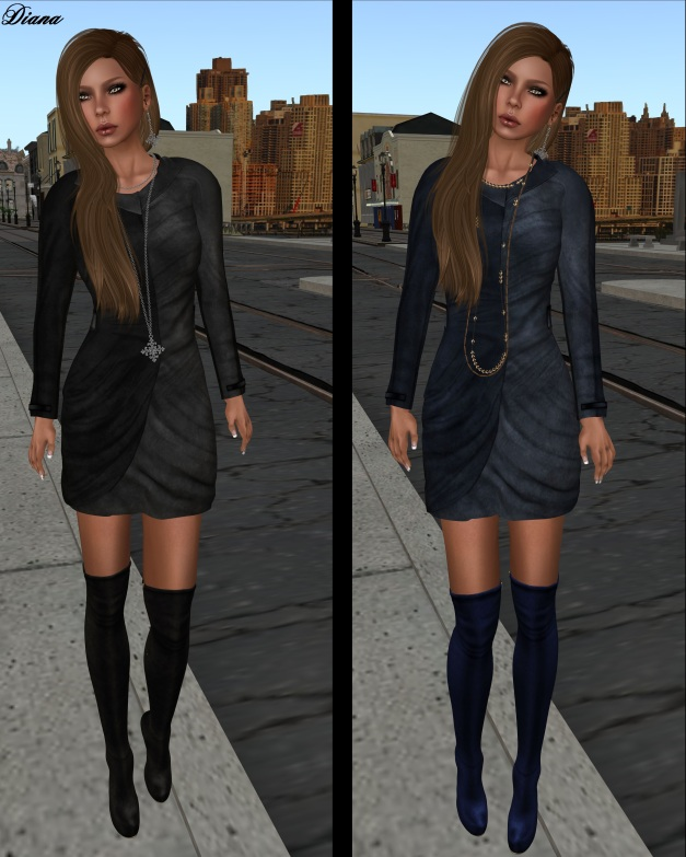 Baiastice - Monique Suede Dress black grey and blue cerulean