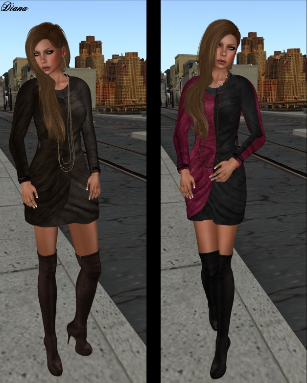 Baiastice - Monique Suede Dress choco brown and fuchsia grey