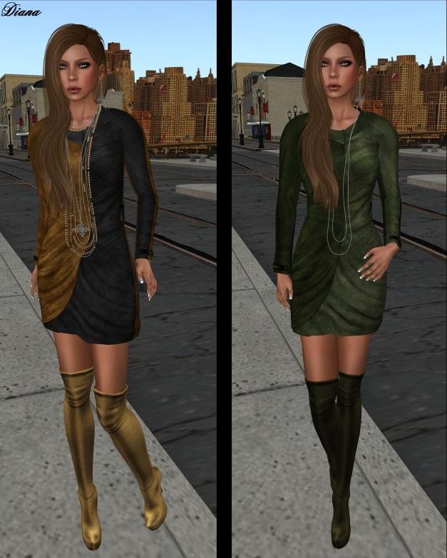 Baiastice - Monique Suede Dress goldenrod grey and green pistachio