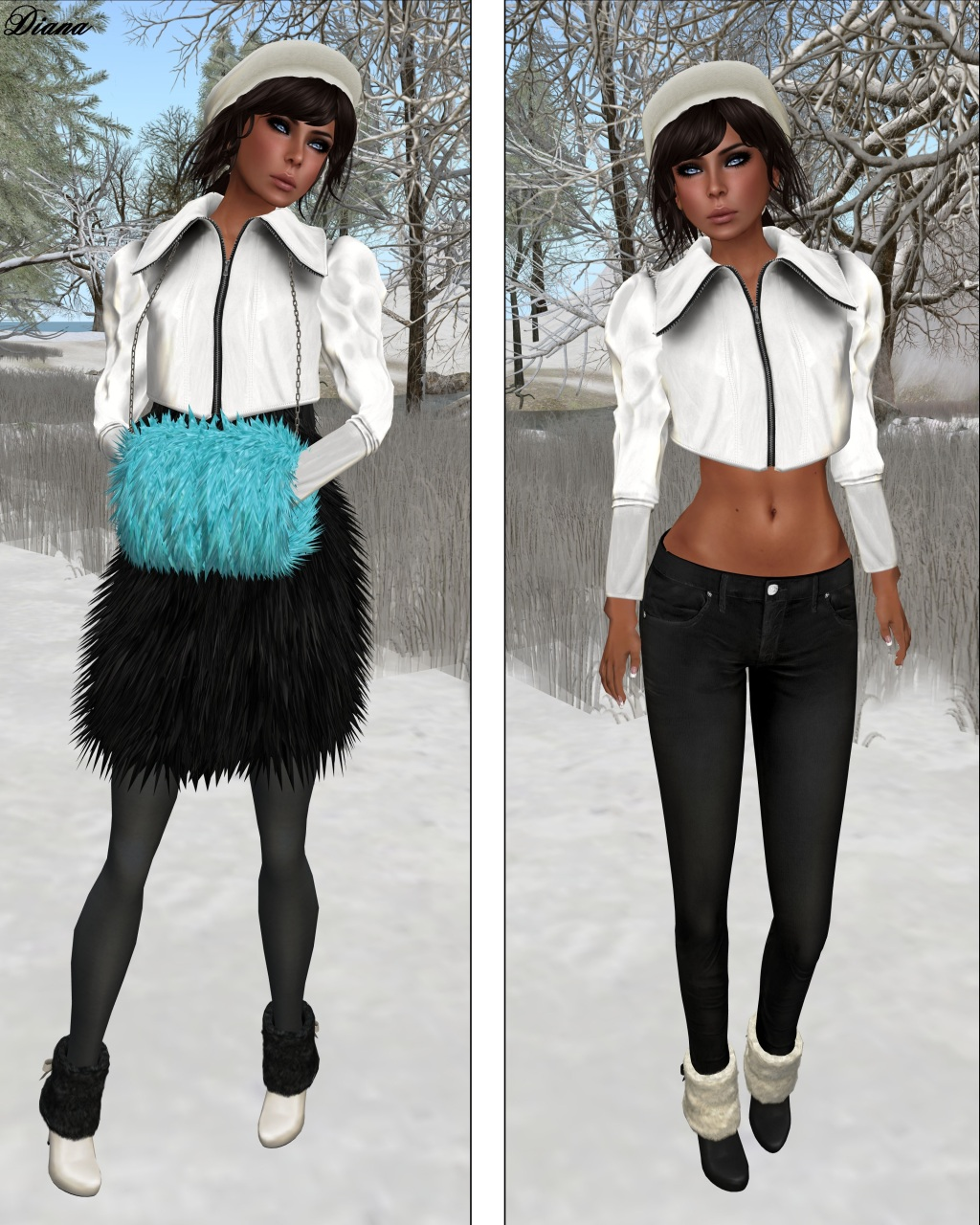 COCO - CroppedJacket (White) and FurMuff (Cyan)