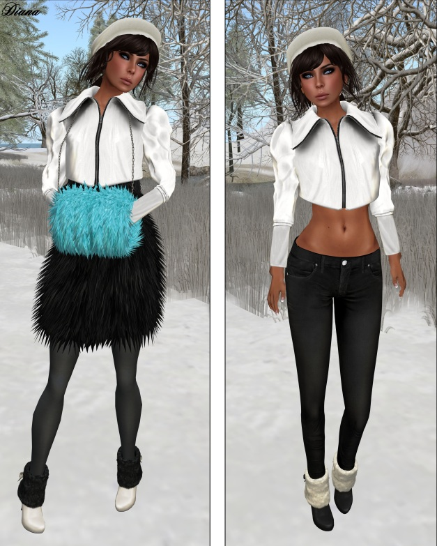 COCO - CroppedJacket (White) and FurMuff (Cyan)