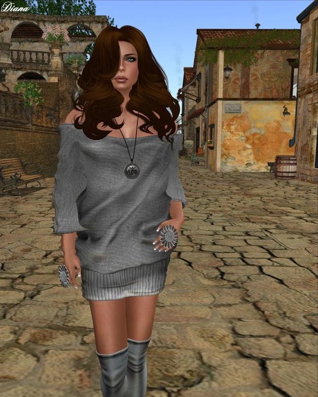 Gabriel - Mesh Loose Knit Dress gray