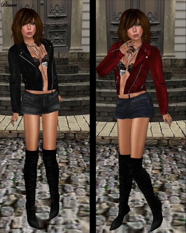 Immerschoen - Jeans Mini Skirt Fiona and Mesh Leather Jacket Mara-1