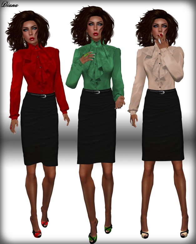 JHC - Soraya Frilled Blouse & Pencil Skirt black