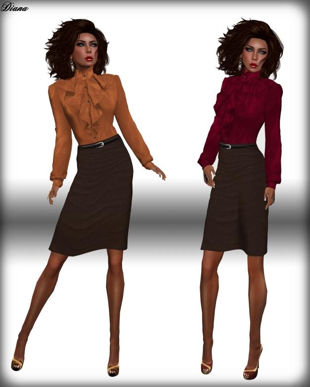 JHC - Soraya Frilled Blouse & Pencil Skirt brown