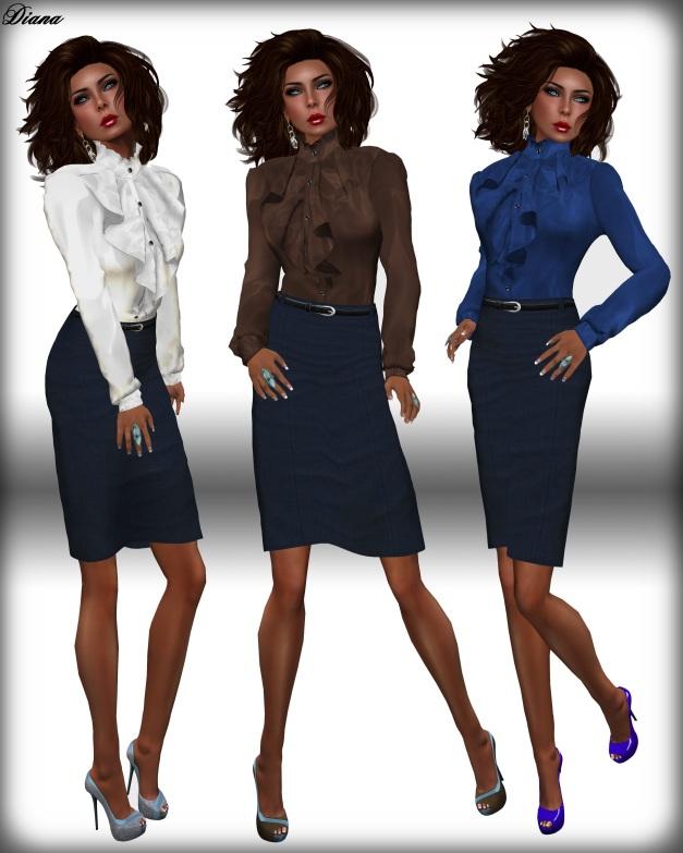 JHC - Soraya Frilled Blouse & Pencil Skirt denim