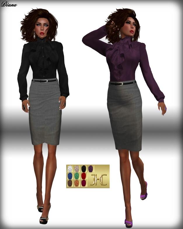 JHC - Soraya Frilled Blouse & Pencil Skirt grey-1