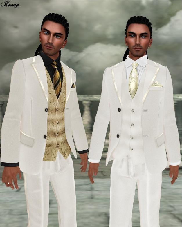 Lapointe & Bastchild - Modern White Open Mesh Tuxedo Set-2