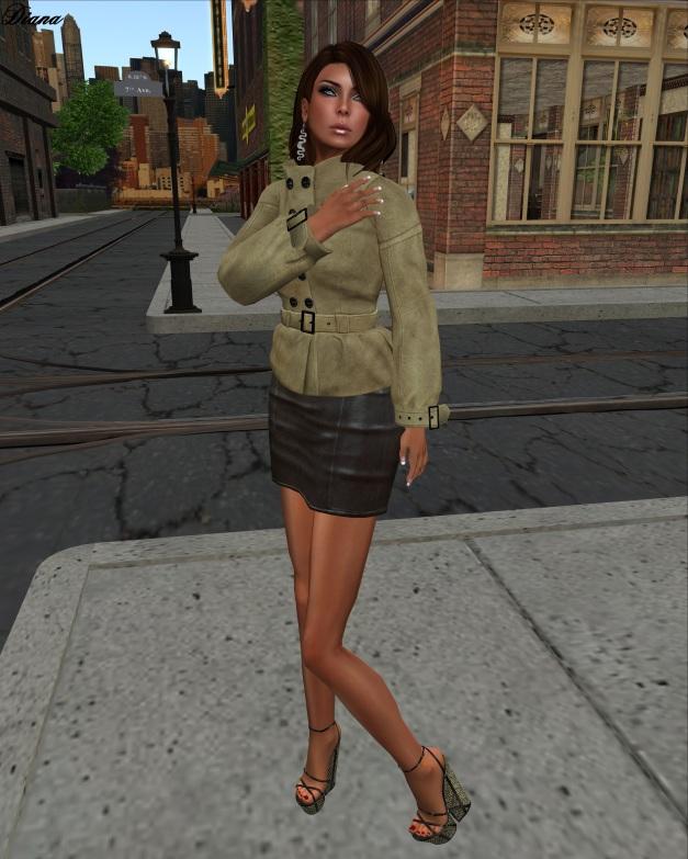 Maitreya - Magan Jacket (Suede Sand) and  Mini Skirt Dark Leather (Eternity)