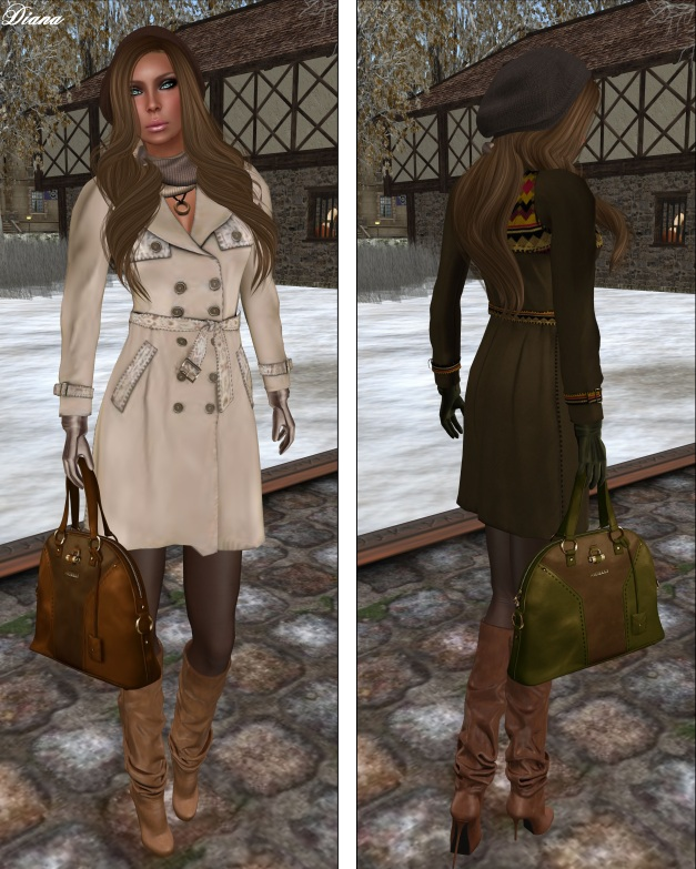 Ricielli - Mesh Trench Coat pearl and taupe